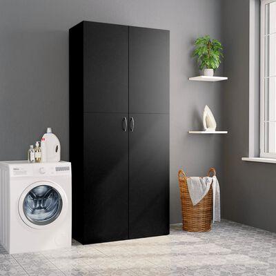 vidaXL Opbergkast 80x35,5x180 cm spaanplaat zwart