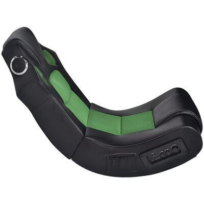 vidaXL Schommelstoel met muziek kunstleer zwart en groen