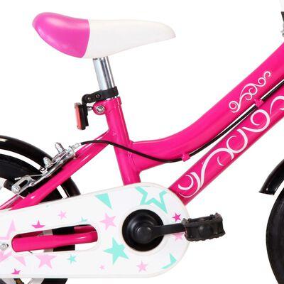 vidaXL Kinderfiets 12 inch zwart en roze