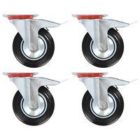 vidaXL Zwenkwielen met dubbele remmen 4 st 160 mm