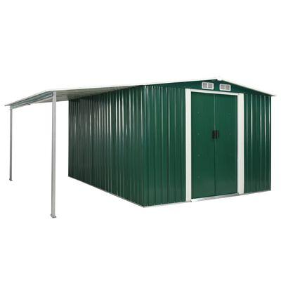 vidaXL Tuinschuur met schuifdeuren 386x312x178 cm staal groen