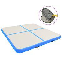 vidaXL Gymnastiekmat met pomp opblaasbaar 200x200x15 cm PVC blauw
