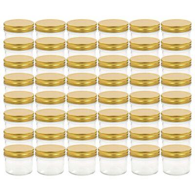 vidaXL Jampotten met goudkleurige deksels 48 st 110 ml glas