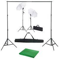 vidaXL Fotostudioset met achtergrond, lampen en paraplu's