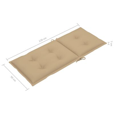 vidaXL Tuinstoelkussens 4 st 120x50x7 cm beige