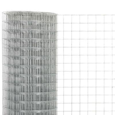 vidaXL Kippengaas 10x0,5 m gegalvaniseerd staal zilverkleurig