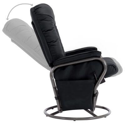 vidaXL Leunstoel met voetenbankje kunstleer zwart