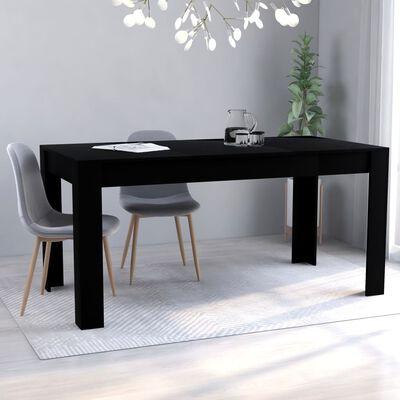 vidaXL Eettafel 160x80x76 cm spaanplaat zwart