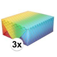 3x Inpakpapier/cadeaupapier regenboog kleuren en grafische print