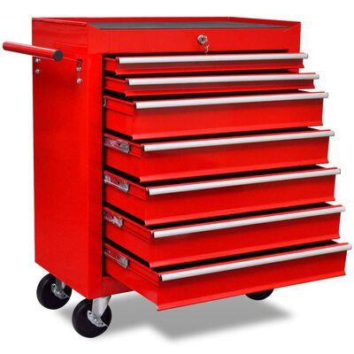 vidaXL Gereedschapswagen 7 lades rood