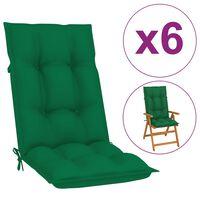 vidaXL Tuinstoelkussens 6 st 120x50x7 cm groen