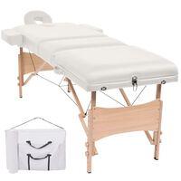 vidaXL Massagetafel inklapbaar 3 zones 10 cm dik wit