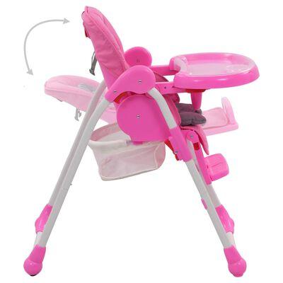 vidaXL Kinderstoel hoog roze en grijs