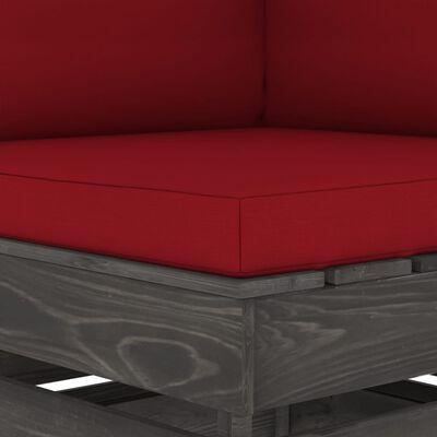 vidaXL Hoekbank sectioneel met kussens grijs geïmpregneerd hout