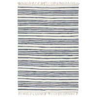 vidaXL Vloerkleed chindi handgeweven 160x230 cm katoen blauw en wit