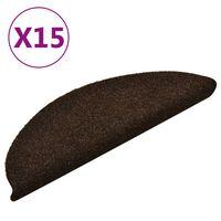 vidaXL Trapmatten zelfklevend 15 st 56x17x3 cm naaldvilt bruin