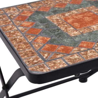 vidaXL 3-delige Bistroset mozaïek keramische tegel oranje en grijs