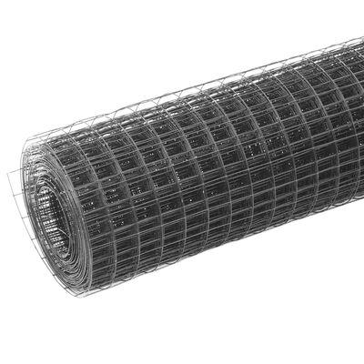 vidaXL Kippengaas 25x0,5 m staal met PVC coating grijs