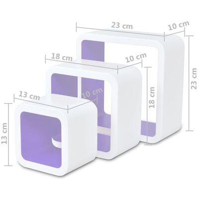 vidaXL Wandplanken kubus 6 st wit en paars