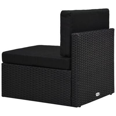 vidaXL 2-delige Loungeset poly rattan zwart