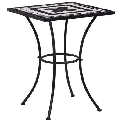 vidaXL Bistrotafel mozaïek 60 cm keramiek zwart en wit