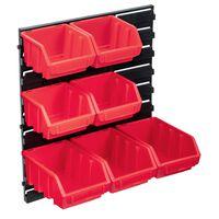 vidaXL 8-delige Opslagbakkenset met wandpaneel rood en zwart
