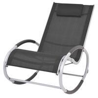 vidaXL Tuinschommelstoel textileen zwart
