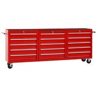 vidaXL Gereedschapswagen met 15 lades staal rood