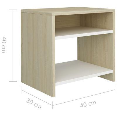 vidaXL Nachtkastjes 2 st 40x30x40 cm spaanplaat wit sonoma eikenkleur