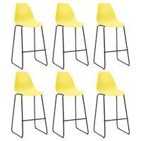 vidaXL Barstoelen 6 st kunststof geel