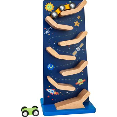Small Foot knikkertoren Space hout junior 25 cm blauw/blank