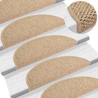 vidaXL Trapmatten zelfklevend 15 st sisal-look 56x20 cm zandkleurig