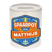 Kinder spaarpot voor Matthijs - keramiek - naam spaarpotten