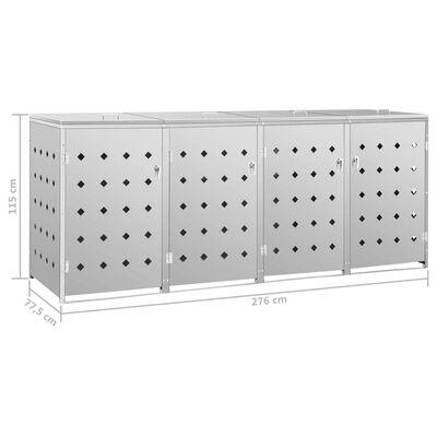 vidaXL Containerberging vierdubbel 240 L roestvrij staal