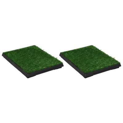 vidaXL Huisdierentoiletten 2 st met bak en kunstgras 63x50x7 cm groen