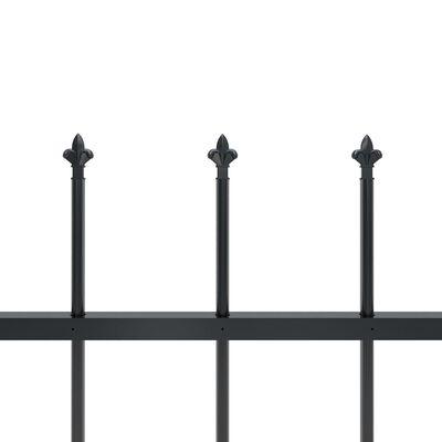 vidaXL Tuinhek met speren bovenkant 11,9x0,6 m staal zwart