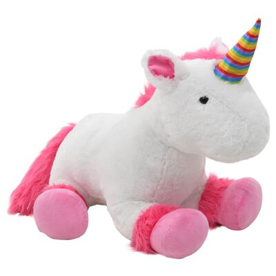 vidaXL Knuffel eenhoorn pluche roze en wit