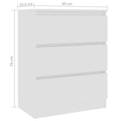 vidaXL Dressoir 60x33,5x76 cm spaanplaat wit