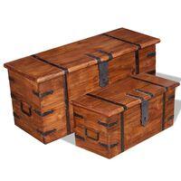 vidaXL 2-delige Opbergkistenset massief hout
