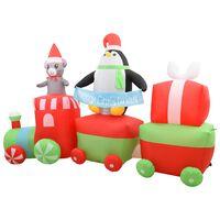 vidaXL Kersttrein met pinguïn en muis opblaasbaar LED IP44 350 cm