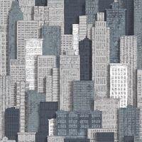 Urban Friends & Coffee Behang stadsappartementen grijs en blauw