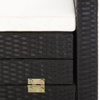 vidaXL Slaapbank met luifel 3-zits verlengbaar poly rattan zwart