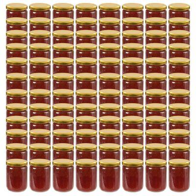 vidaXL Jampotten met goudkleurige deksels 96 st 230 ml glas
