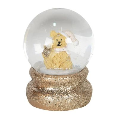 Sneeuwbol   Ø 4*5 cm   Goudkleurig   Polyresin / glas   rond   beer  