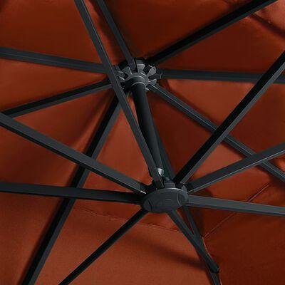 vidaXL Zweefparasol met LED-verlichting 400x300 cm terracottakleurig
