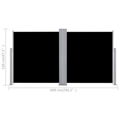vidaXL Windscherm uittrekbaar 120x600 cm zwart