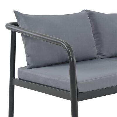 vidaXL Tuinbank tweezits met kussens aluminium grijs