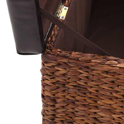 vidaXL Bankje met 2 poefs zeegras bruin en zwart