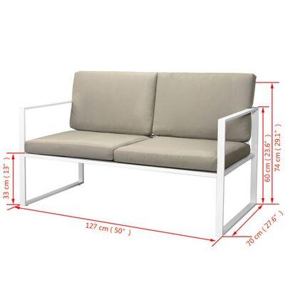 vidaXL 4-delige Loungeset met kussens staal wit