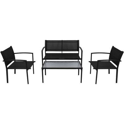 vidaXL 4-delige Loungeset textileen zwart